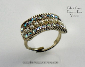 Cocktail Ring Rhinestones AB and Faux Seed Pearls Vintage Adjustable Size
