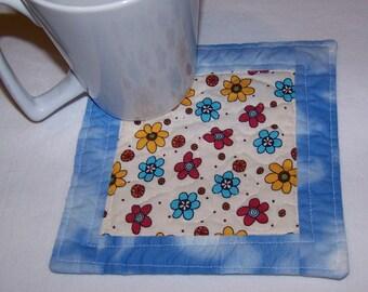 Quilted  Coaster Mug Rug  Modern  Fun Flowers Reversible