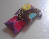 Brown Multicolor Flower Purple Pink Fabric Chapstick Case Cozy USB Keychain
