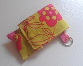 Lime Green and Pink Flower Print Fabric Chapstick Case Cozy USB Keychain