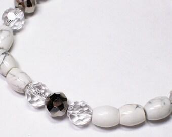 Howlite Stone Crystal Silver Bracelet Original Handmade White Grey Shiny Iris Glass