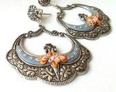 Floral earrings sterling silver - oak leaf - moroccan jewelry