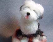 Old English Sheepdog custom made needle felted sculpture dog art