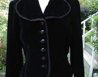 Vintage Velvet Jacket Black Evening Jacket  Elegant Jacket Vintage Velvet 1950s Jacket Unique Jacket Black Velvet Jacket Black Jacket