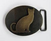 Brass Cat Belt Buckle on SALE half price