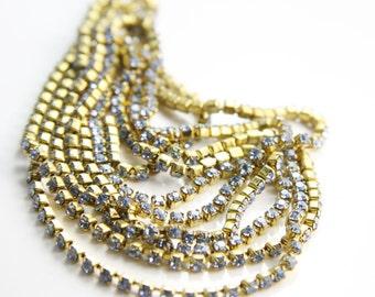 1 Foot of Preciosa Rhinestone Chain SS6.5 - Crystal - Raw with Light Sapphire Rhinestone (102906) D