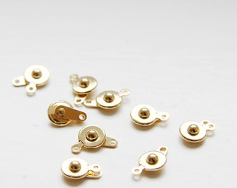 10 pcs Gold Tone Brass Base Button Clasp - 7.5mm (105201) (I-361)