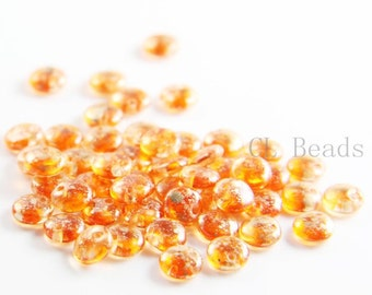 50pcs Czech Glass Beads - Lentils with One Hole - Coated Sunshine Dust 6mm (95482) (L-144)