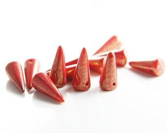 6pcs Czech Handmade Glass Spikes - Coral Lumi 7x17mm (SP0066) (L-233)