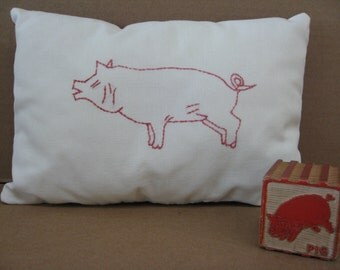 Embroidered Pig Pillow and Block