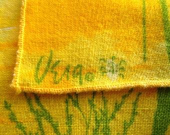 Four vintage signed Vera napkins, bright yellow, bright green, sunshine, ladybug