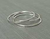Thin Sterling Silver Stackable Rings - Set of 3 or 4 Rings - Super Slim 1mm - Argentium Sterling Silver - Simple Modern Minimal Rings