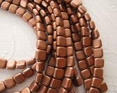Czech 2 Hole, 6mm Tile Beads, one string of 25 beads - Matte Metallic Copper - K0177
