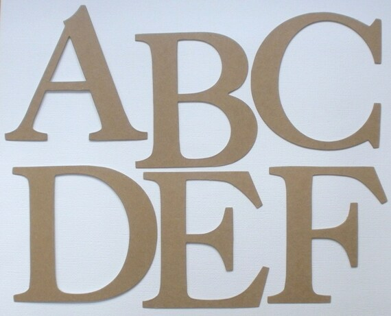 """4""""  ELEGANT FONT - Alterable -  Raw CHiPBOARD Bare Die Cuts  - Alphabet A-Z - 26 Letters"""