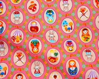 Matryoshka Russian dolls  Animal Matryoshka and Mushrom print fabric Pink