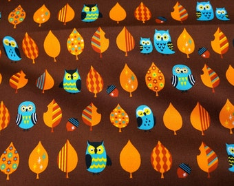 Owl and Tree Print   print Japanese fat quarter nc12