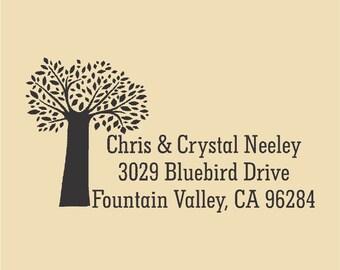 Chris & Crystal Neeley Tree Custom Return Address - Rubber Stamp -  Design R062
