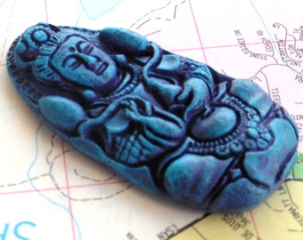 hand painted resin buddha pendant AURORA purple and blue chunky pendant