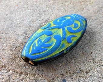 hand altered SPRING lime green and blue ornate LUCITE focal bead 2 pcs