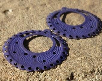 round hoop, GRAPE purple patina metal filigree small round hoop 6 pcs
