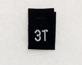 Size 3T (Three Toddler) Black  Woven Clothing Size Tag (Package of 250)