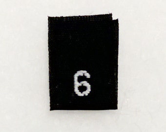 Size 6 (Six) BLACK- Woven Clothing Size Tags (Package of 1000)