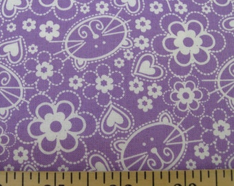 Fat Quarter- Cute Kitty cat on lavender by Michael Miller Fabrics CX5190-Orchid