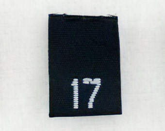Size 17 (Seventeen) BLACK- Woven Clothing Size Tags (Package of 250)