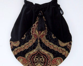 Black Velvet Tapestry Pocket Boho Bag  Drawstring Bag   Bohemian Bag  Crossbody Purse