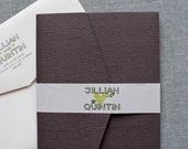 Rustic Wedding Invitation - Green and Brown Wood Grain Pocket  Invitation - Jillian and Quintin - Custom Colors Available