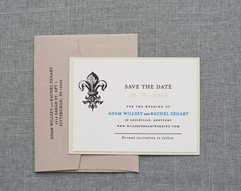 Southern Charm Wedding Save the Date, Fleur De Lis Wedding Save the Date, Rustic Wedding, Kraft, Pastel, St. Louis - Rachel and Adam