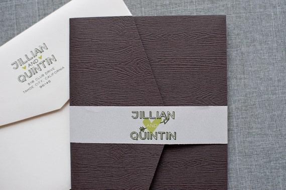 Rustic Wood Pocket Wedding Invitation Casual Tree