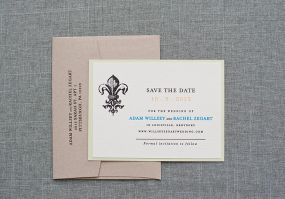 Sothern Charm Wedding Save the Date, Fleur De Lis Wedding Save the Date, Rustic Wedding, Kraft, Pastel, St. Louis - Rachel and Adam