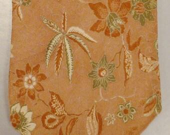 Designer GERARDO Neck TIE Silk BROCADE Floral Leaves  Beige Brown 1980s Silk Mint  58X3.5in