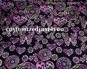 Very Reto psychedelic fabric Print Butterfly Heart Flowers Cotton Fabric sold by the half yard