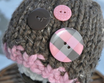 Baby Hat Prop - Chunky Knit Newborn Photo Hat - Cocoa Brown - Light Pink - Knit Photo Prop Hat - Buttons - Professional Photo Shoot Prop -