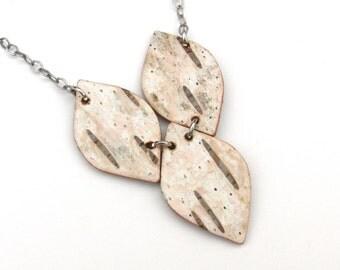 Birch bark necklace, Drops