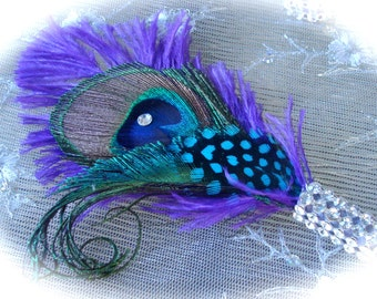 TLCs FOUR WEDDINGS  Peacock Bling feather boutonniere in your choice of colors