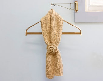 Organic Cotton Key Hole Scarf with Flower, Oatmeal  Self Tying Neck Warmer, Stay in Place Scarf, Vegan, Ready to Ship