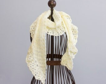 Creamy White Lace Scarf,  Hand Crocheted  Scarf,  Womans Scarf, Vegan Scarf, Ruffle Scarf, Winter Scarf, Evening Scarf