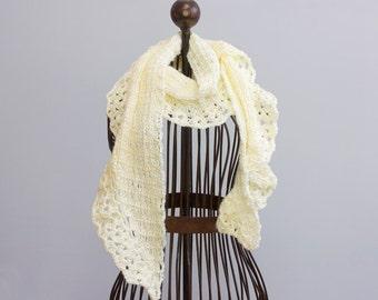 Creamy White Lace  Scarf,  Bridal Wrap, Crochet Womans Scarf, Vegan Scarf, Evening Scarf