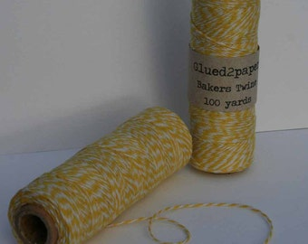Yellow and White Bakers Twine - Yellow Bakers Twine - Scrapbooking Twine - Craft Supplies - 100 yards of 4 Ply Twine