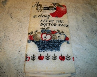 SALE! Vintage Apple A Day Keeps The Doctor Away Kitchen Towel MWT