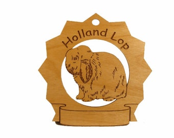Holland Lop Rabbit Pesonalized Wood Ornament - Free Shipping