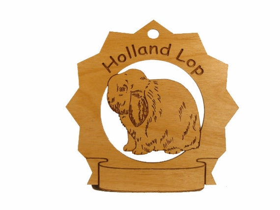 Holland Lop Rabbit Pesonalized Wood Ornament