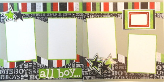 ALL BOY 12 x 12 premade scrapbook pages - boy