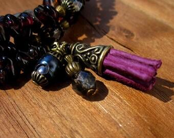 Memory Wire Beaded Adjustable Wrap Bangle Bracelet with Gemstones: Pom Seed
