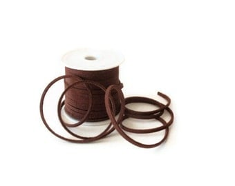 7 Yards (21 Ft.) Dark Brown Colored Faux Suede Cord, Jewelry Making Supplies
