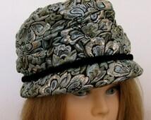 Super Fly Vintage 1960s Metallic Brocade Oversized Hat With Velvet Trim