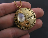 Moonstone and Hand Stamped Rememberance Pendant Necklace, Good Friends Memento Necklace, Rainbow Moonstone Necklace